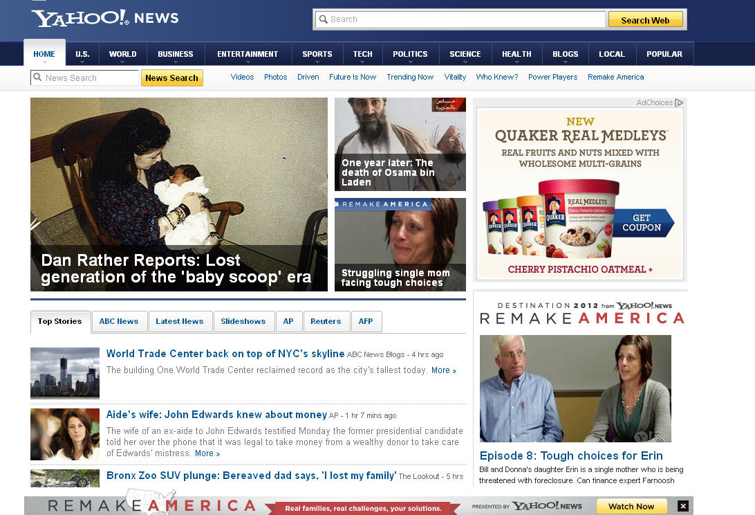 Front Page of Yahoo News May 1, 2012