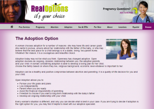 Real Options do not provide REAL option for crisis pregnancy.