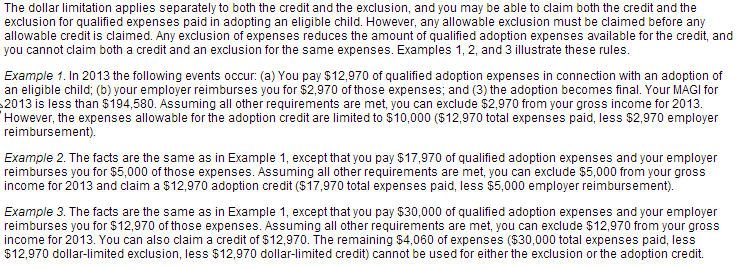 adoption tax credits and income exlcusions