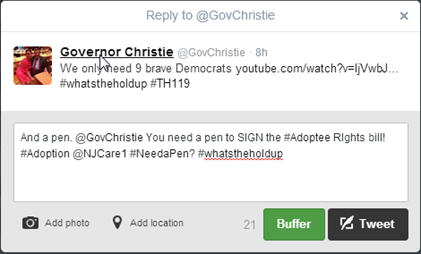 Tweeting to Gov Christie adoptee rights