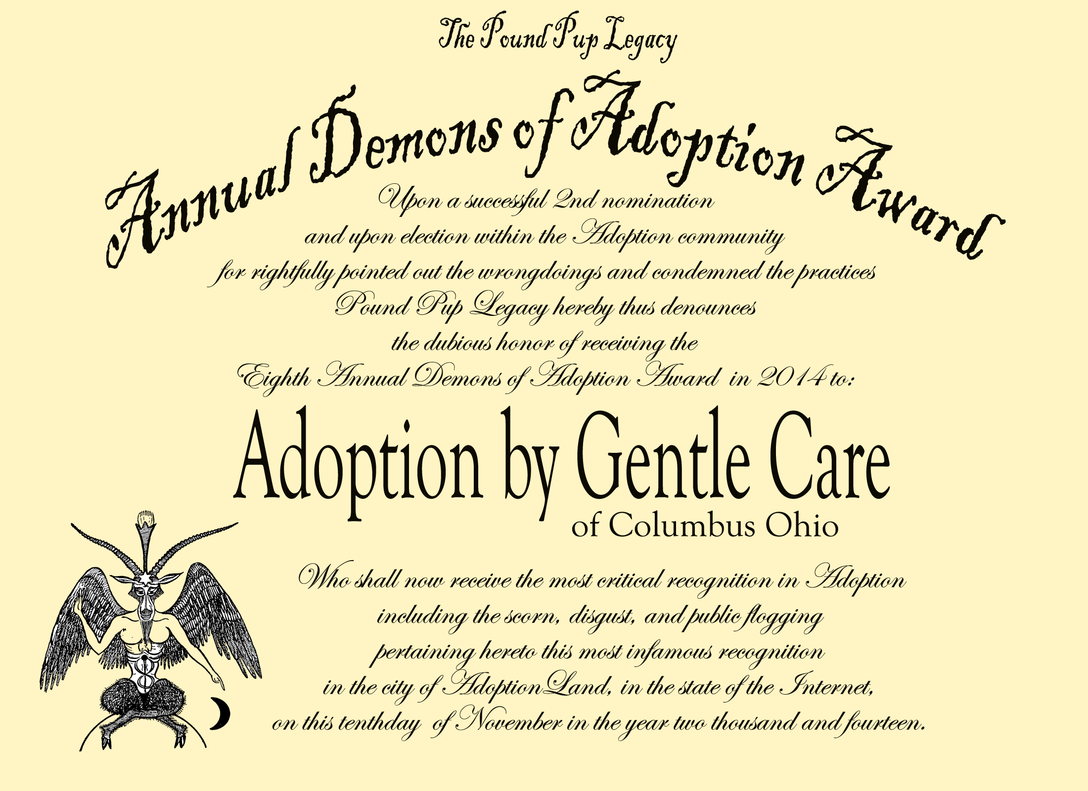 demon award 2014 adoption by gentle care